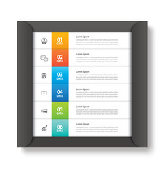 infographics tab in paper index with 6 data vector image