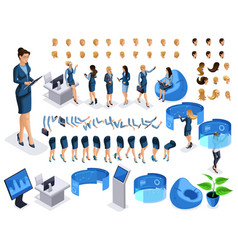 Isometric set business character with gadgets vector