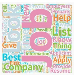 JH Learn how and where to look for jobs text vector image