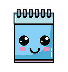 Kawaii cute happy notebook tool vector