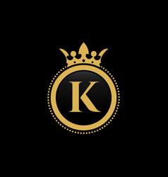 Letter k royal crown luxury logo design vector