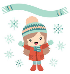 little girl in wintertime with snowflakes vector image