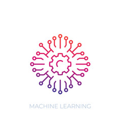 Machine learning icon linear vector