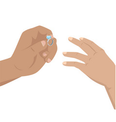 Man putting on woman s hand blue diamond ring vector