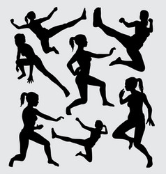 martial art silhouette vector image