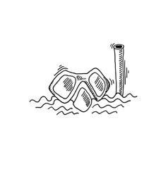 mask with a tube in the sea sketch drawing icon vector image