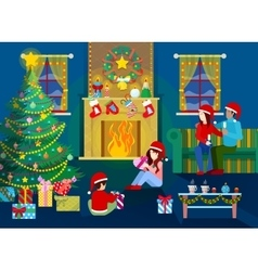 Merry Christmas Eve Happy Family in Home Interior vector
