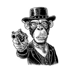 monkey gentleman holding revolver and dressed hat vector image
