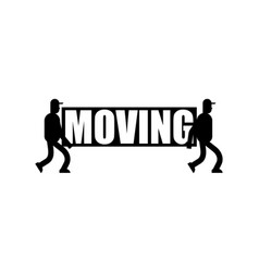 moving service logo delivery sign two movers vector image