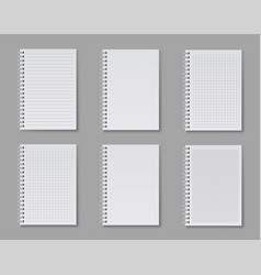 notebook set blank ruled pages for writing notes vector image