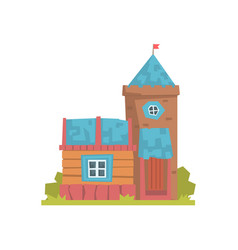 old wooden house and stone tower ancient vector image