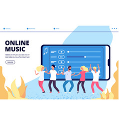 online music landing page mobile vector image