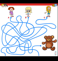 Paths maze game with girls and teddy vector
