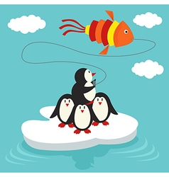 Penguins on ice floe launch kite in form of fish vector