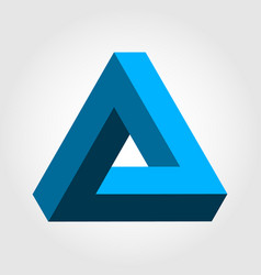 Penrose triangle blue for 3d logo illusion vector
