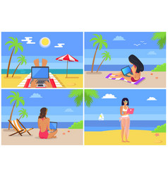 People at seaside freelance vector