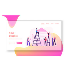 people writing letters website landing page tiny vector image