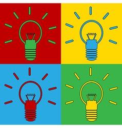 Pop art light bulb icons vector image