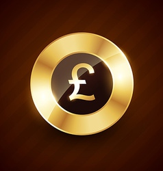 pound golden coin design with shiny effects vector image