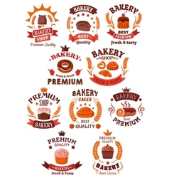 Premium bakery and pastry shop symbols vector