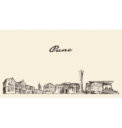 Pune skyline hand drawn vector image