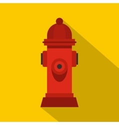 Red fire hydrant icon flat style vector