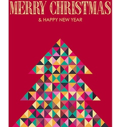 Retro mosaic christmas pine tree vector