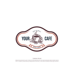 Retro vintage coffee cup for cafe restaurant or vector
