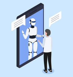 Robot or chatbot in smartphone screen and engineer vector