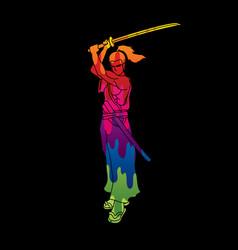 samurai standing with sword katana ready to fight vector image