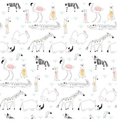 Seamless childish pattern with african animals vector