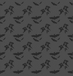Seamless pattern halloween silhouettes dark retro vector