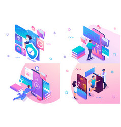 Set isometric workout concept online training vector