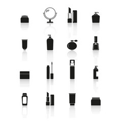 set makeup cream bottles icons reflection vector image