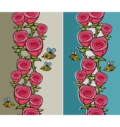 Set of vertical pattern with flowers and insects vector