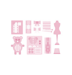 sewing and needlework pink icons set tailoring vector image