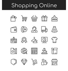 shopping icons line outline vector image