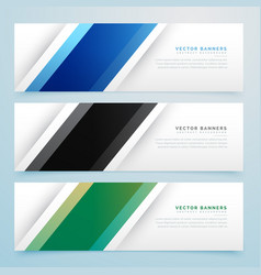 Simple three color banner headers set vector