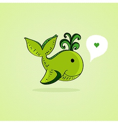 Sketch style Green whale vector