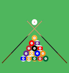 Snooker ball set of objects cue vector image