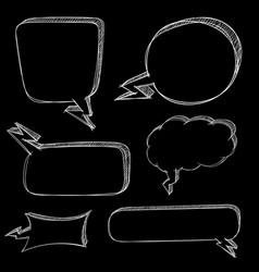 speech bubbles hand drawn sketch on black vector image