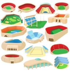 Sport stadium set cartoon style vector