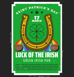 st patricks day gold pot clover and horseshoe vector image