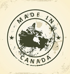Stamp with map of Canada vector image