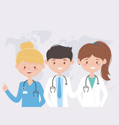 Team professional world medical staff practitioner vector