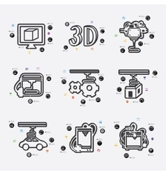 three d printer infographic vector image