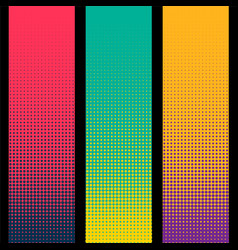 three vertical halftone banner in different colors vector image