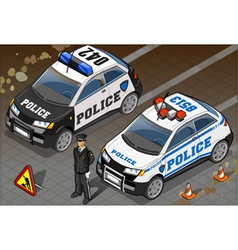 Two Isometric Police Car in Front View vector