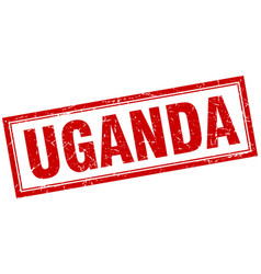 Uganda red square grunge stamp on white vector