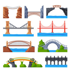 various bridges collection urban architecture vector image
